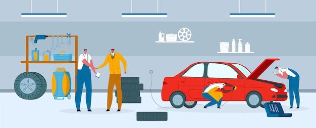 Illustrazione di servizio di riparazione auto