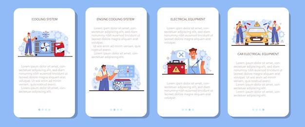Set di banner per applicazioni mobili per il servizio di riparazione auto. raffreddamento dell'automobile