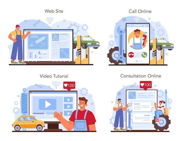 Servizio di riparazione auto online o set di piattaforme. automobile in officina auto
