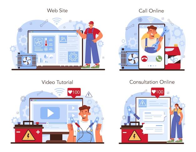 Servizio di riparazione auto online o set di piattaforme. raffreddamento dell'automobile