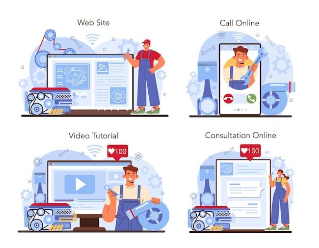 Servizio di riparazione auto online o set di piattaforme. il meccanico dell'automobile controlla il motore di un veicolo, il motore e lo ripara. consultazione online, chiamata, video tutorial, sito web. illustrazione vettoriale piatto.