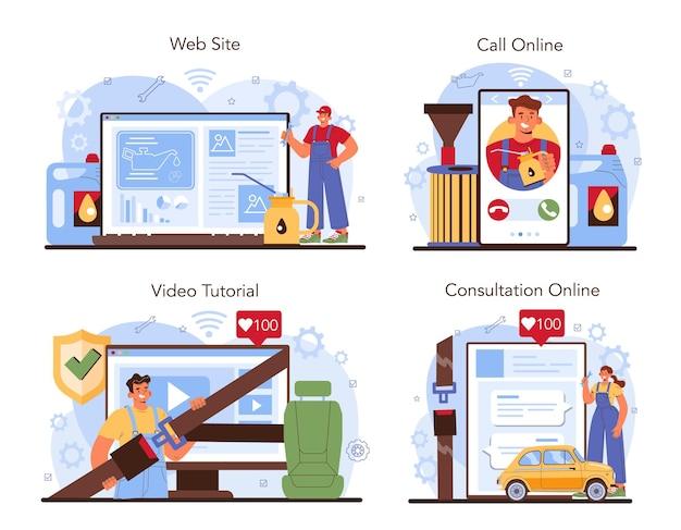 Servizio di riparazione auto online o controllo meccanico del set di piattaforme