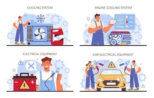 Set di servizi di riparazione auto. il sistema di raffreddamento dell'automobile è stato riparato