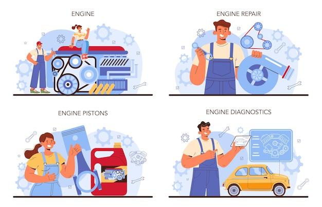 Set di servizi di riparazione auto. il motore dell'automobile è stato riparato nell'officina dell'auto