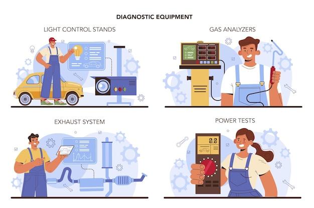 Set di servizi di riparazione auto. apparecchiature diagnostiche per il servizio automobilistico. meccanico di officina auto in uniforme utilizzando strumenti speciali per il controllo dell'auto. illustrazione vettoriale piatto.