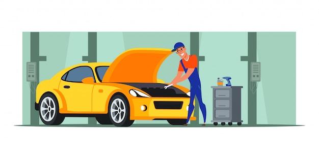 Illustrazione piana del negozio di riparazione auto