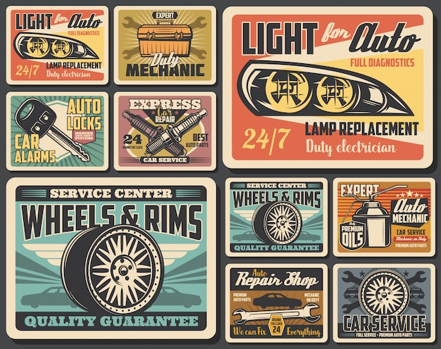 Ricambi per riparazione auto, pneumatici per ruote auto, olio motore
