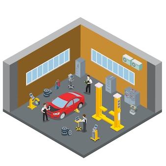 Sala interna interna di servizio di riparazione auto veicolo