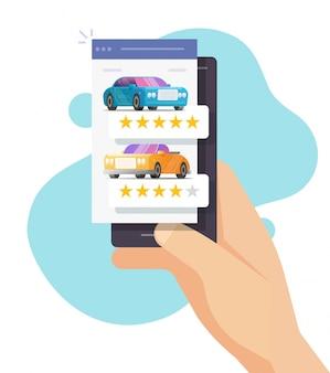 Valutazione della recensione dell'auto online sul cellulare della persona