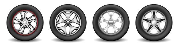 Set cerchi auto con pneumatici in gomma e dischi moderni cromati per la protezione delle ruote del veicolo. concetto di attrezzatura di servizio di vulcanizzazione. illustrazione vettoriale 3d