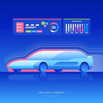 Concetto di sicurezza dell'auto. automobile futuristica con rilevamento e comunicazione, illustrazione