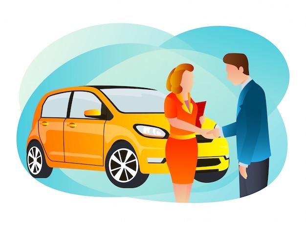 Un venditore di auto è riuscito a vendere un'auto classica a una donna.