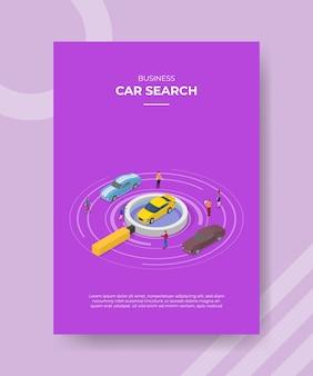 Concetto di ricerca di auto per banner modello e volantino per la stampa