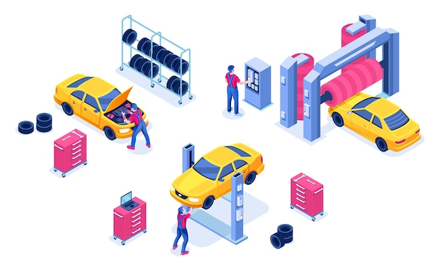 Servizio auto o garage per la manutenzione dell'auto, centro diagnostico dei trasporti