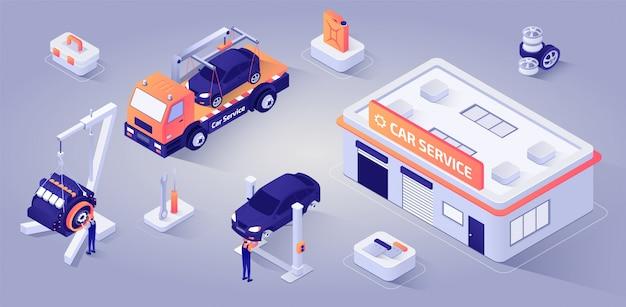Costruzione di servizio dell'automobile con i meccanici sul vettore del lavoro