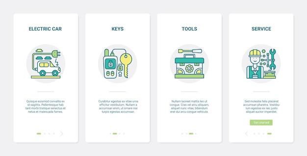 Set di schermate della pagina dell'app per dispositivi mobili di onboarding dell'interfaccia utente del personale del centro di assistenza auto e strumenti di linea