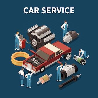 Concetto di servizio auto con illustrazione isometrica di simboli di pezzi di ricambio