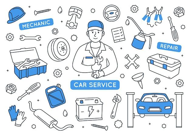 Insieme di elementi di doodle di servizio auto.