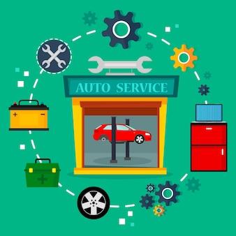 Servizio auto in garage, concetto di servizio meccanico. Vettore Premium