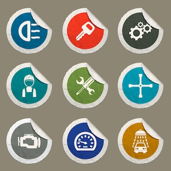 Set di icone di servizio auto per siti web e interfaccia utente
