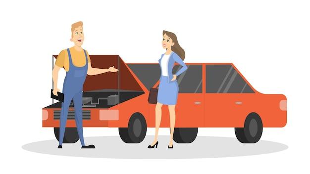 Illustrazione di servizio auto. donna con macchina rotta con riparatore.