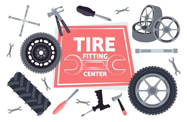 Le icone di manutenzione del servizio auto hanno messo l'illustrazione orizzontale di vettore di concetto di servizio di montaggio del pneumatico