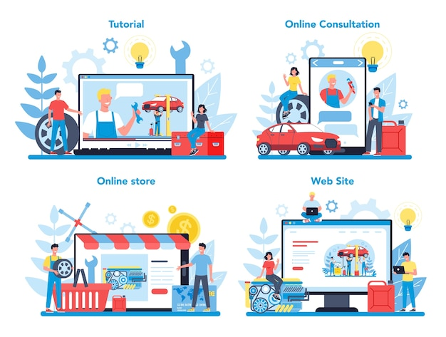Servizio online di servizio auto o piattaforma su un set di concetti di dispositivi diversi. workshop online, consulenza o video tutorial idea di riparazione e diagnostica auto.