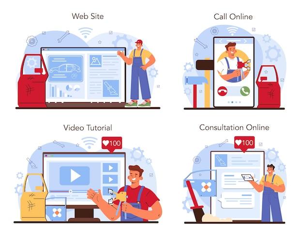 Servizio di auto servizio online o set di piattaforme. l'auto è stata riparata in garage