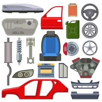 Illustrazione piana di vettore di riparazione del meccanico delle parti di servizio dell'automobile