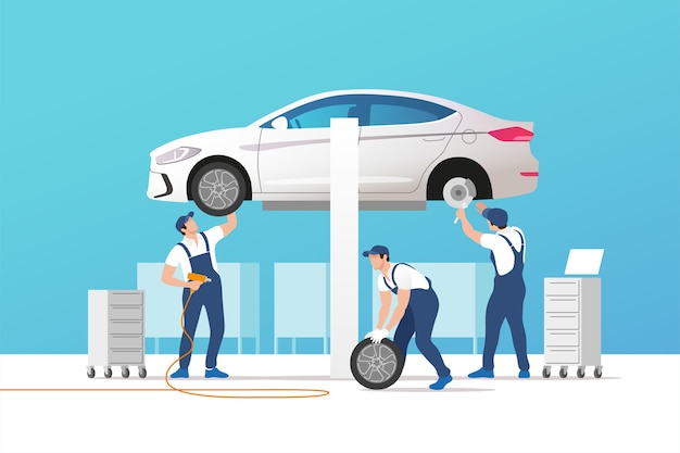 Illustrazione di servizio e riparazione auto