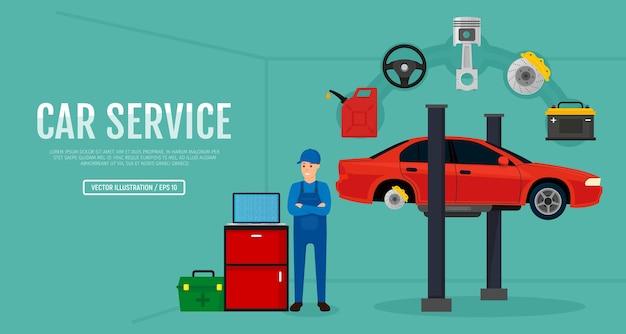 Servizio e riparazione auto con uomo e strumenti Vettore Premium