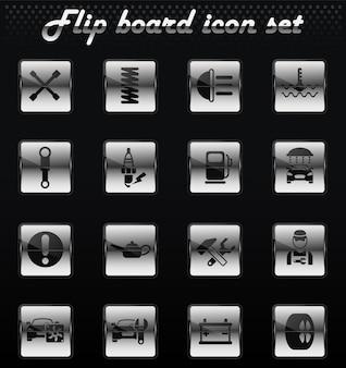 Icone meccaniche flip vettore di servizio auto per la progettazione dell'interfaccia utente