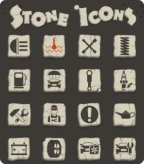 Icone vettoriali di servizio auto su blocchi di pietra nello stile dell'età della pietra