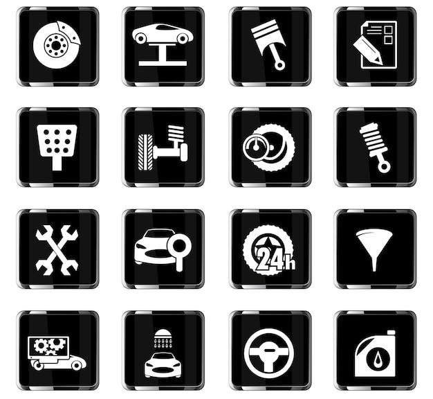 Icone vettoriali di servizio auto per la progettazione dell'interfaccia utente Vettore Premium