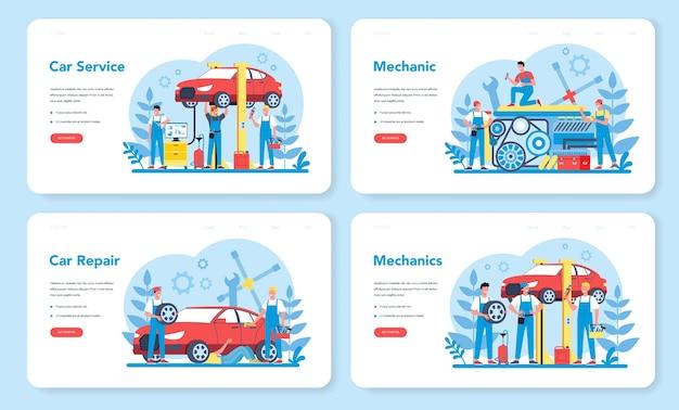 Banner web di servizio auto o set di pagine di destinazione. le persone riparano l'auto utilizzando uno strumento professionale. idea di riparazione auto e diagnostica. icona di ruota e olio, motore e carburante.