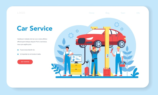 Banner web o pagina di destinazione del servizio auto.