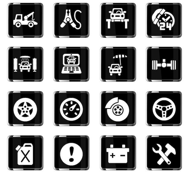 Icone web di servizio auto per la progettazione dell'interfaccia utente