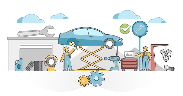 Lavoro di servizio auto per la manutenzione del meccanico dei veicoli e il concetto di contorno fisso