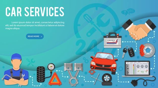 Illustrazione di concetto di servizi di auto