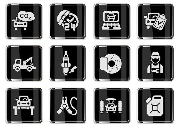 Pittogrammi di servizi auto nei pulsanti cromati neri. set di icone per il tuo design. icone vettoriali