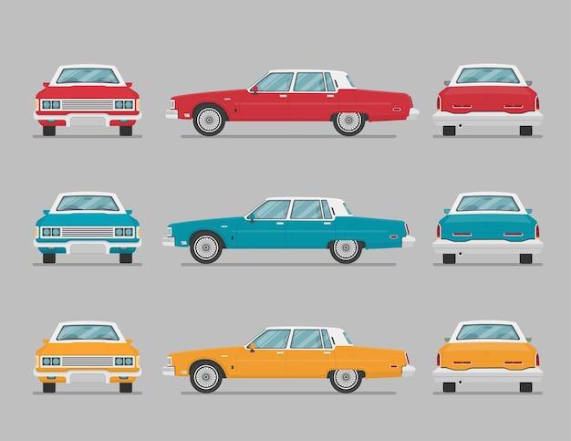 Set di auto in diverse viste