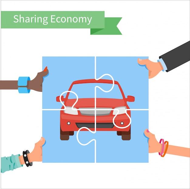 Illustrazione di condivisione auto