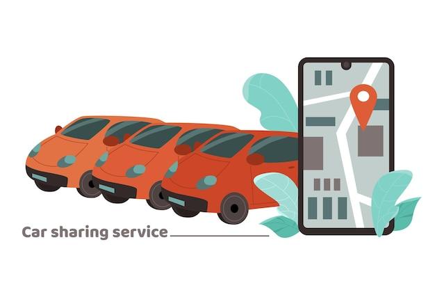 Banner di car sharing con applicazione mobile sull'illustrazione vettoriale dei cartoni animati del telefono