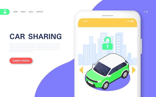 Bandiera di concetto di car sharing. app per smartphone per l'autonoleggio. illustrazione isometrica di vettore.