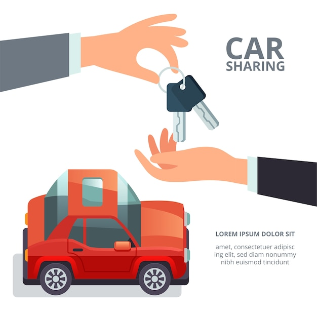 Concetto di car sharing consumo collaborativo e condivisione di economia mano che dà le chiavi della macchina Vettore Premium