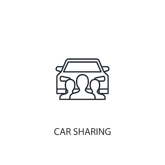 Icona della linea del concetto di car sharing. illustrazione semplice dell'elemento. disegno di simbolo di struttura di concetto di car sharing. può essere utilizzato per ui/ux mobile e web