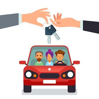 Concetto di car sharing con personaggi mano che dà le chiavi della macchina