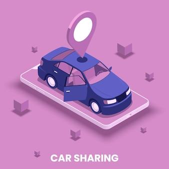 Concetto di car sharing con posizione e simboli di guida isometrici