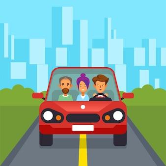 Car sharing gruppo di persone car pooling sfondo di paesaggio urbano con strada