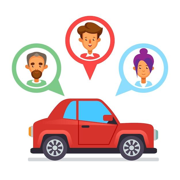Icona di car sharing con caratteri piatti